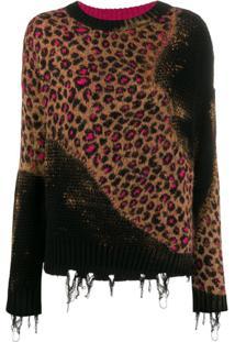 Pinko Suéter De Tricô Com Recortes - Preto