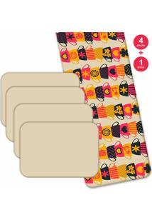 Jogo Americano Love Decor Com Caminho De Mesa Wevans Xícaras Coloridas Kit Com 4 Pçs 1 Trilho
