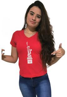 Camiseta Feminina Gola V Cellos New York Premium Vermelho - Kanui