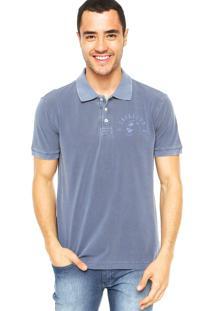 Camisa Polo Cavalera Estampa Azul