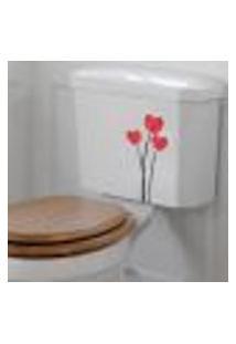 Adesivo De Banheiro Para Vaso Acoplado Flores - Único 28X13Cm