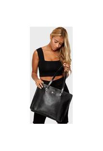 Bolsa Shopper Couro Mariart 5210Mrt Preta