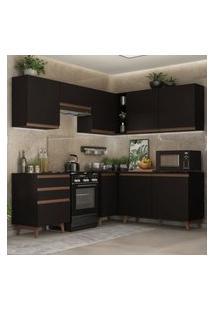 Cozinha Completa De Canto Madesa Reims 392001 Com Armário E Balcáo - Preto Preto