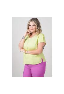 Blusa Ampla Almaria Plus Size New Umbi Detalhe Posterior Verde