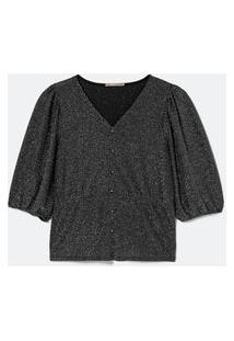 Blusa De Malha Brilho Curve E Plus Size Preto