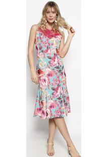 Vestido Floral Com Renda- Verde Água & Pink- Nectarinectarina