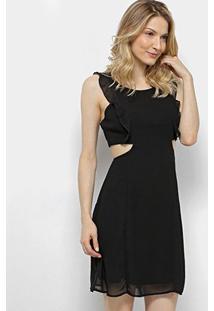 Vestido Lily Fashion Tubinho Curto Decote Lateral Babados - Feminino-Preto