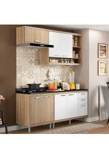 Cozinha Compacta Com Tampo 5 Peças 5811-S6T - Sicília - Multimóveis - Argila Acetinado / Branco Acetinado