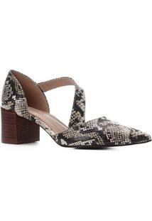 Scarpin Couro Shoestock Salto Bloco Cobra Lorena - Feminino-Off White+Preto