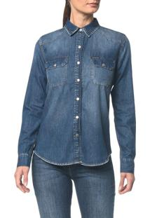 Camisa Jeans Manga Longa - Azul Médio - Pp