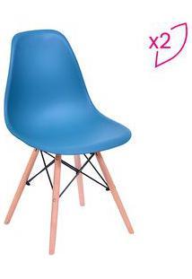 Or Design Jogo De Cadeiras Eames Dkr Azul Petrã³Leo & Madeira 2Pã§S