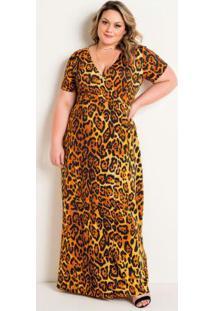 Vestido Longo Onça Transpassado Plus Size
