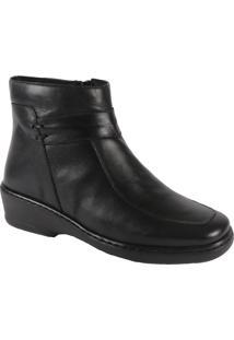 Ankle Boot Preta Salto Baixo Comfort Plus