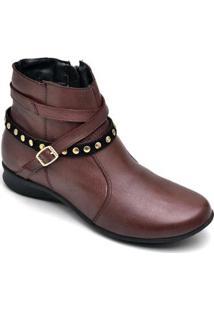 Bota Couro D&R Shoes Feminina - Feminino-Vinho