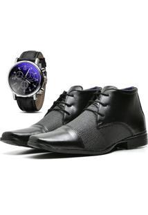 Kit Bota Coturno Sapato Casual Com Relógio Top Flex Social R108M Preto