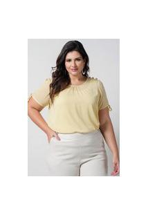 Blusa Preguinhas Almaria Plus Size New Umbi Com Regata Amarelo