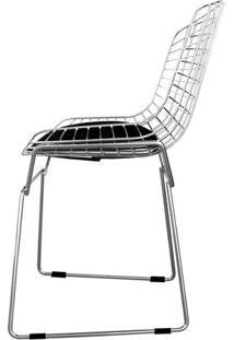 Cadeira Bertoia Cromada - Assento Corino Preto