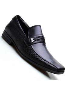 Sapato Social Masculino Em Couro Com Fivela Na Pala Calvest - Masculino-Preto