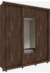 Guarda Roupa Malibu 3 Portas Com Espelho Cumaru Rústico