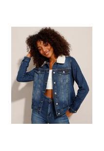 Jaqueta Jeans Com Bolsos E Pelo Removível Azul Escuro