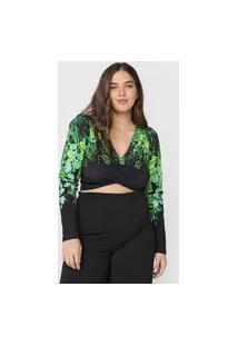 Blusa Colcci Estampada Preta/Verde