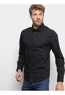 Camisa Manga Longa Colcci Lisa Masculina - Masculino-Preto