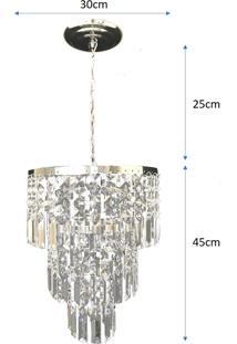 Lustre Pendente De Cristal Acrílico Alto Brilho 30X70 Lina Design Ac24 - Kanui