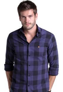 Camisa Buckman Casual Xadrez Roxa