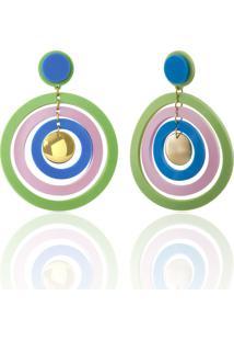 Max Brinco De Acrílico Una Donna Collection Círculos Multicolor