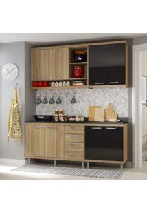 Cozinha Completa Com Balcão Sem Tampo 4 Peças 8 Portas Sicília Multimóveis Argila/Preto