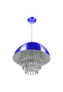 Lustre Pendente Meia Lua 40Cm Azul Metalico Cristal Acrilico