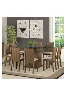 Conjunto Sala De Jantar Madesa Camila Mesa Tampo De Vidro Com 8 Cadeiras Rustic/Pérola