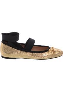 Sapatilha Ballerina Vintage Gold Shine | Arezzo