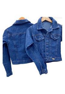 Jaqueta Jeans Feminina Botão Encapado Azul