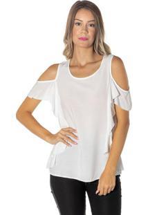 Blusa Lisa Com Ombros Vazados - Brancadwz
