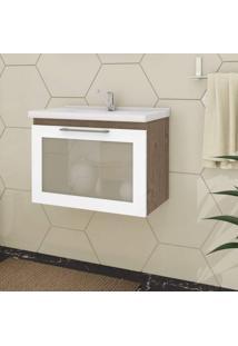 Gabinete De Banheiro 1 Porta Vidro Reflecta Basculante 1 Gaveta 1 Cuba 59Cm Hibisco Mgm Móveis Amêndoa/Branco