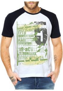Camiseta Raglan Criativa Urbana Náutica Branco