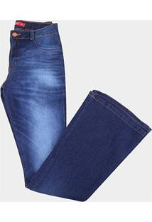 Calça Jeans Plus Size Biotipo Flare Média Alta Feminina - Feminino-Azul
