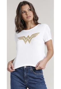 Blusa Feminina Mulher Maravilha Com Glitter Manga Curta Decote Redondo Off White