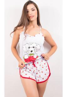 Pijama Baby Doll Estampado Short Rosa / M - Feminino-Vermelho