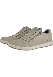 Sapatênis Rebento Cr Shoes Com Elástico E Zíper Leve Lançamento Bege