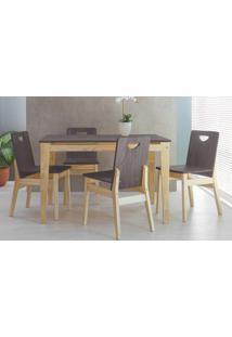 Mesa Com 4 Cadeiras De Jantar Tucupi 120Cm- Acabamento Stain Natural E Grafite