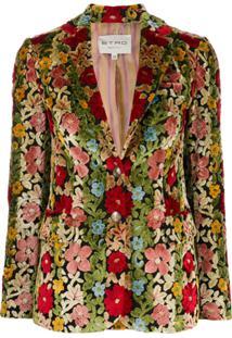 Etro Blazer Floral Com Abotoamento Único - Neutro