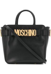 Moschino Bolsa Tote Com Placa De Logo - Preto
