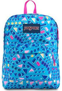 Mochila Jansport Superbreak Treasures - Unissex-Azul+Pink