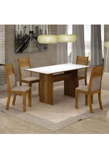 Conjunto De Mesa De Jantar Florença Ii Com 4 Cadeiras Havaí Suede Branco E Marrom