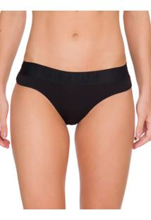 Calcinha Tanga Cotton Black - Preto - P