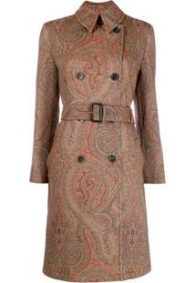 Etro Paisley Print Midi Coat - Marrom