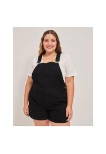 Macacão Curto Jeans Marmorizado Curve & Plus Size   Ashua Curve E Plus Size   Preto   Eg