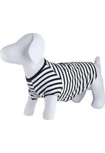 Camiseta Listrada Unissex Pets Preto-E-Branco